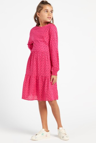 Scatter Dots Print Mini Dress with Round Neck and Long Sleeves