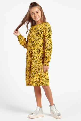 Animal Print Round Neck Mini Dress with Long Sleeves