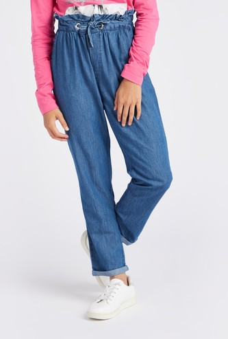 Denim Paper Bag Waist Tapered Pants with Drawstring Closure