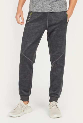 Slim Fit Melange Print Jog Pants with Pocket Detail