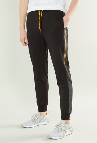 Solid Joggers with Drawstring Closure and Side Tape Detail
