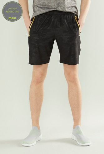 Printed Reflective Shorts with Zippered Pockets