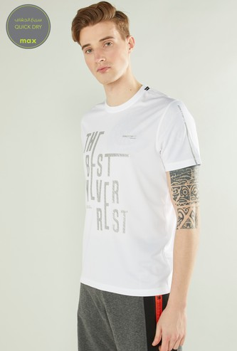 Foil Graphic Print Quick Dry T-shirt with Short Sleeves