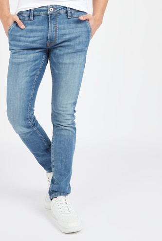 Slim Fit Textured Mid-Rise Jeans with Belt Loops and Pocket Detail