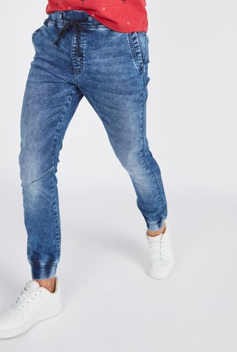 Slim Fit Mid Rise Denim Jog Pants with Drawstring