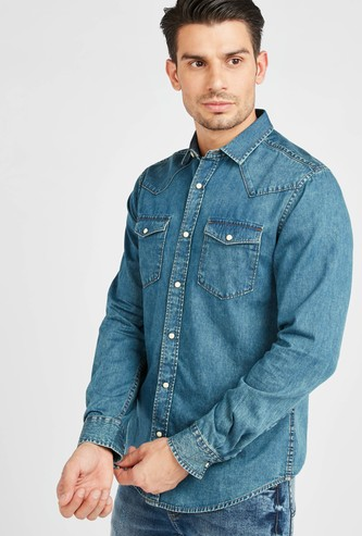 Solid Denim Shirt with Pocket Detail and Long Sleeves