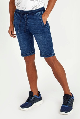 Slim Fit Mid Rise Denim Shorts with Pockets and Drawstring