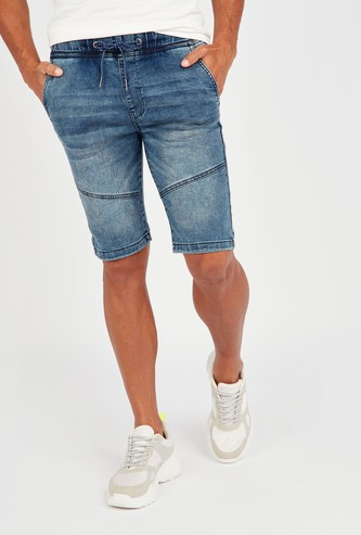 Panel Detail Denim Shorts with Pockets and Drawstring Closure