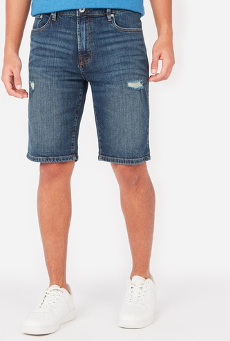 Slim Fit Distressed Mid-Rise Denim Shorts with Pocket Detail