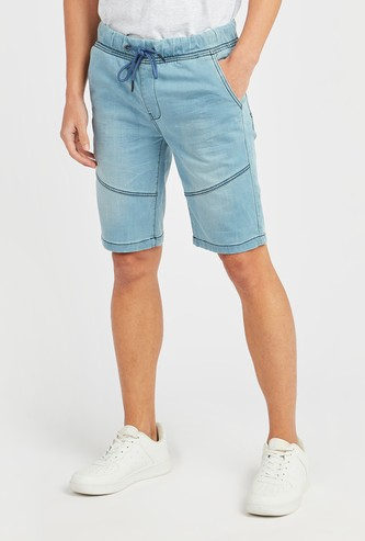 Silm Fit Denim Shorts with Pocket Detail and Belt Loops