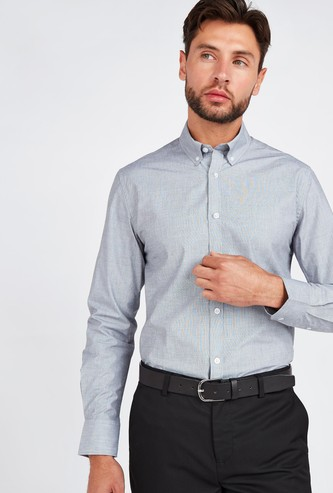 Slim Fit Solid Shirt with Button-Down Collar and Long Sleeves