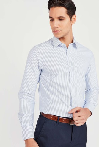Slim Fit Striped Shirt with Spread Collar and Long Sleeves