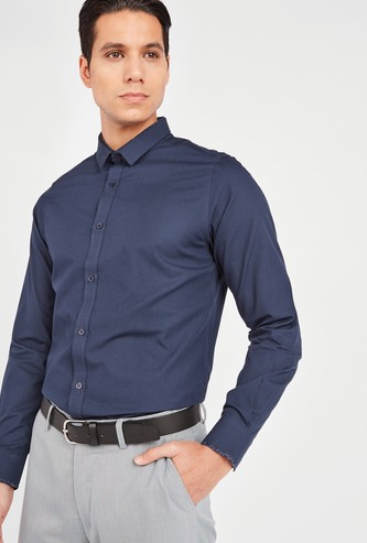 Slim Fit Textured Shirt with Spread Collar and Long Sleeves