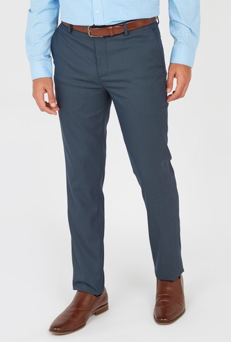Slim Fit Textured Trousers with Pockets and Belt Loops