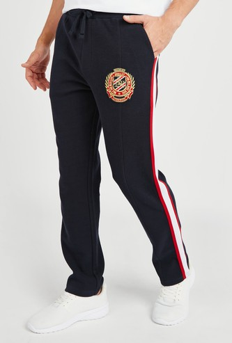 Textured Jog Pants with Pockets and Striped Side Tape