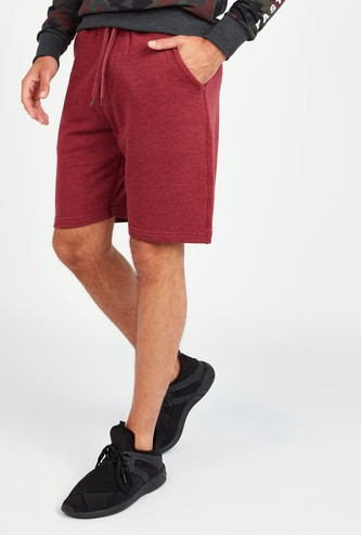 Solid Mid-Rise Shorts with Pocket Detail and Drawstring