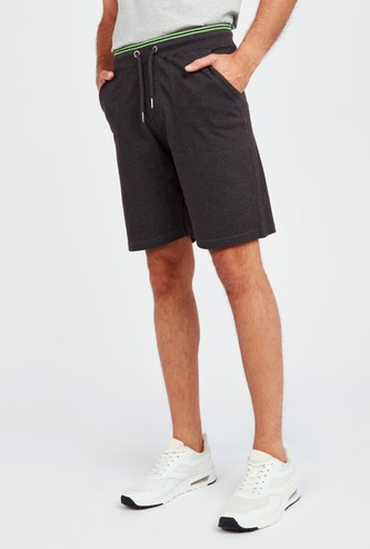 Solid Shorts with Pockets and Drawstring Waistband