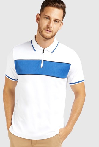 Front Panel Half Zip Polo T-shirt with Short Sleeves