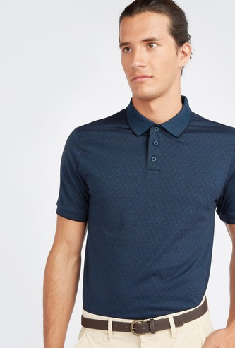 Jacquard Polo T-shirt with Short Sleeves