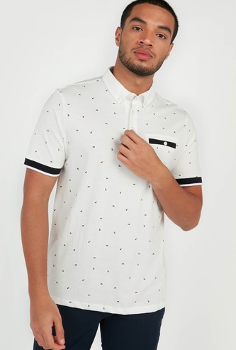 All-Over  Print Polo T-shirt with Short Sleeves