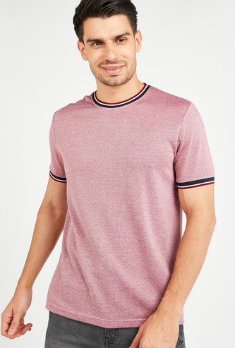Textured T-shirt with Piping Detail and Short Sleeves