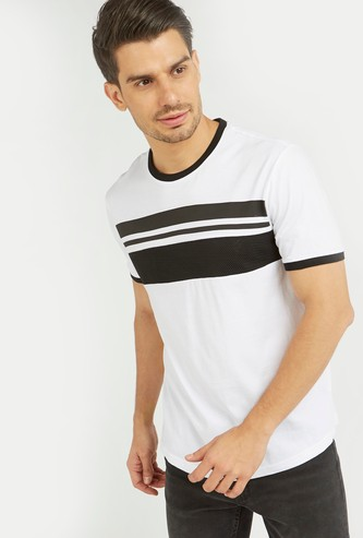 Panel Print T-shirt with Short Sleeves