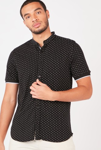 All Over Printed Shirt with Mandarin Collar and Short Sleeves