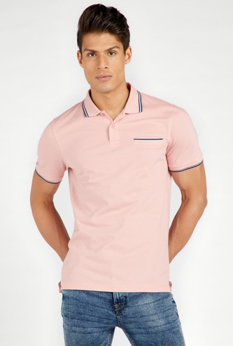 Textured Polo T-shirt with Short Sleeves and Tipping Detail