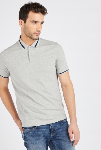 Solid Polo T-shirt with Short Sleeves and Tipping