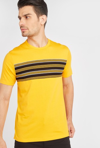Stripe Detail T-shirt with Round Neck and Short Sleeves