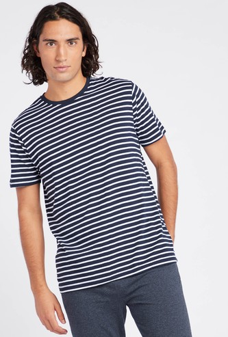 Striped Crew Neck T-shirt with Short Sleeves