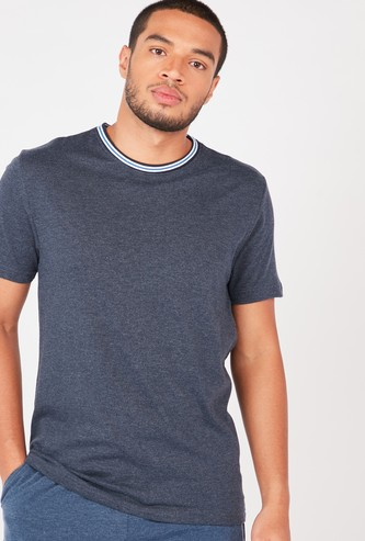 Textured T-shirt with Striped Crew Neck and Short Sleeves