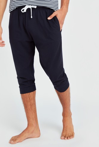 Solid Capris with Pocket Detail and Drawstring