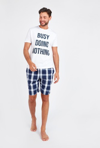 Text Print Short Sleeves T-shirt with Chequered Shorts