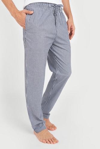Striped Woven Pyjamas with Drawstring Closure