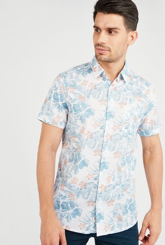 Tropical Print Collared Shirt with Short Sleeves