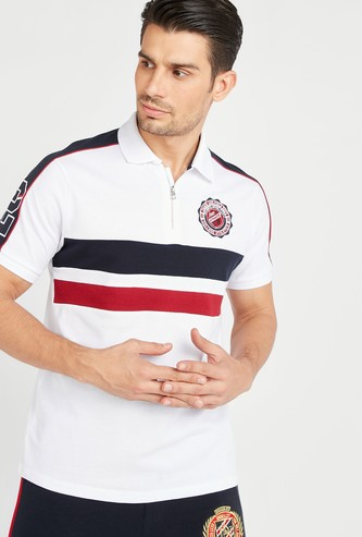 Embroidered T-shirt with Spread Collar and Short Sleeves