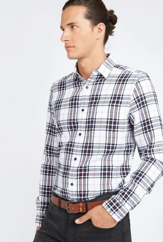 Dobby Checked Shirt with Patch Pocket and Long Sleeves