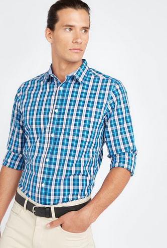 قميص مربّعات بأكمام بألسنة تثبيت وجيب خارجي