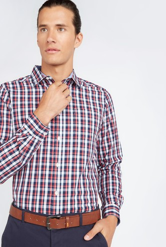 Checked Shirt with Patch Pocket and Roll-Tab Sleeves