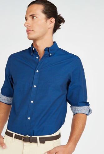 Solid Shirt with Button-Down Collar and Long Sleeves