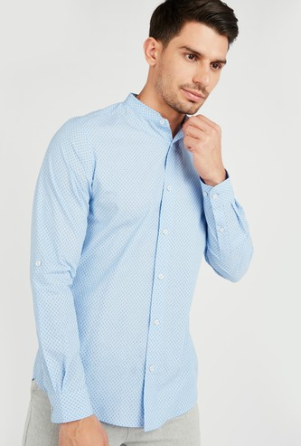 Printed Regular Fit Shirt with Mandarin Collar and Long Sleeves