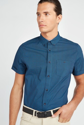 Printed Shirt with Button-Down Collar and Short Sleeves