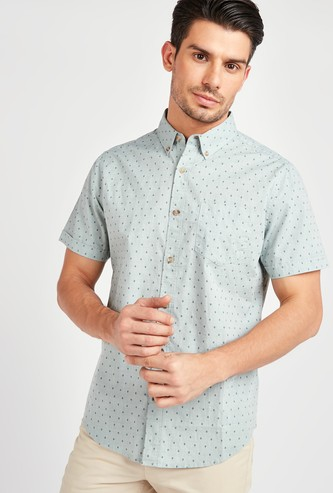 All-Over Printed Shirt with Short Sleeves and Spread Collar
