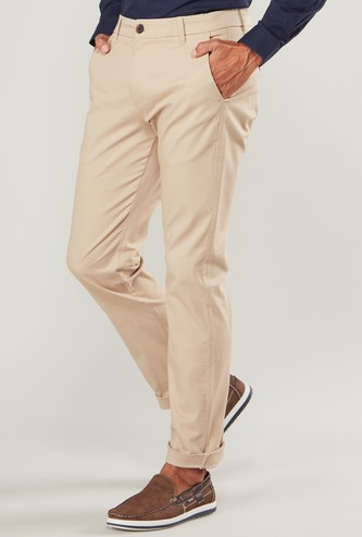 Solid Chinos with Belt Loops and Pocket Detail