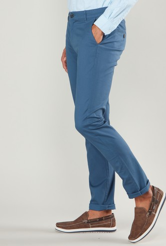 Solid Slim Fit Chinos with Button Closure