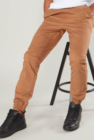 Solid Jog Pants with Pocket Detail and Elasticised Waistband