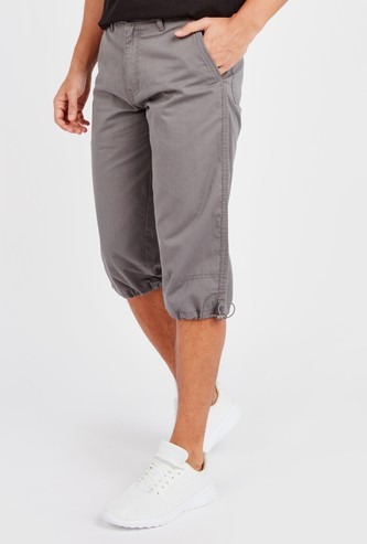 Solid Capris with Pocket Detail and Elasticised Hem