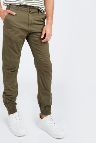 Textured Jog Pants with Zip Detail and Pockets