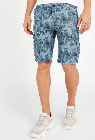 Printed Mid-Rise Shorts with Pocket Detail and Belt Loops